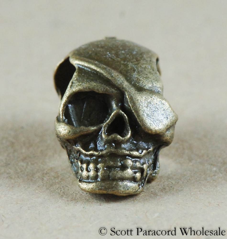 skull bead eyepatch design silver or bronze metal alloy